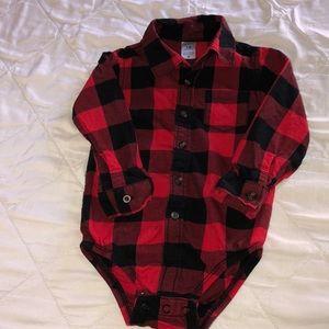 Carter's Red Black Plaid Long Sleeve Button Shirt